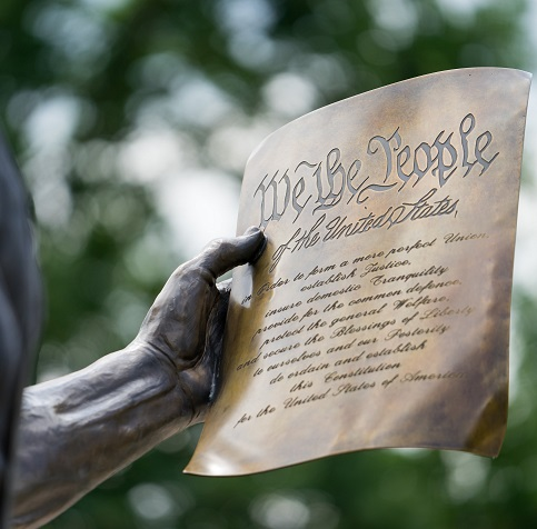 photo of Madison statue with the constitution