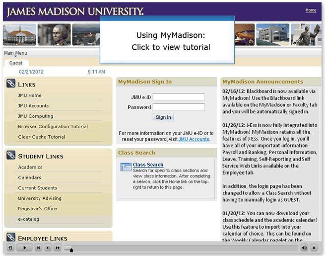 Using MyMadison - click to view tutorial