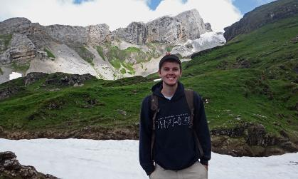 Physics major James Barney in the Alps as part of a JMU study abroad trip