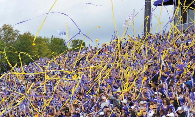 Photo of purple and gold streamers flying at a JMU football game.