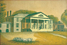 A drawing of Montpelier, home of James and Dolley Madison