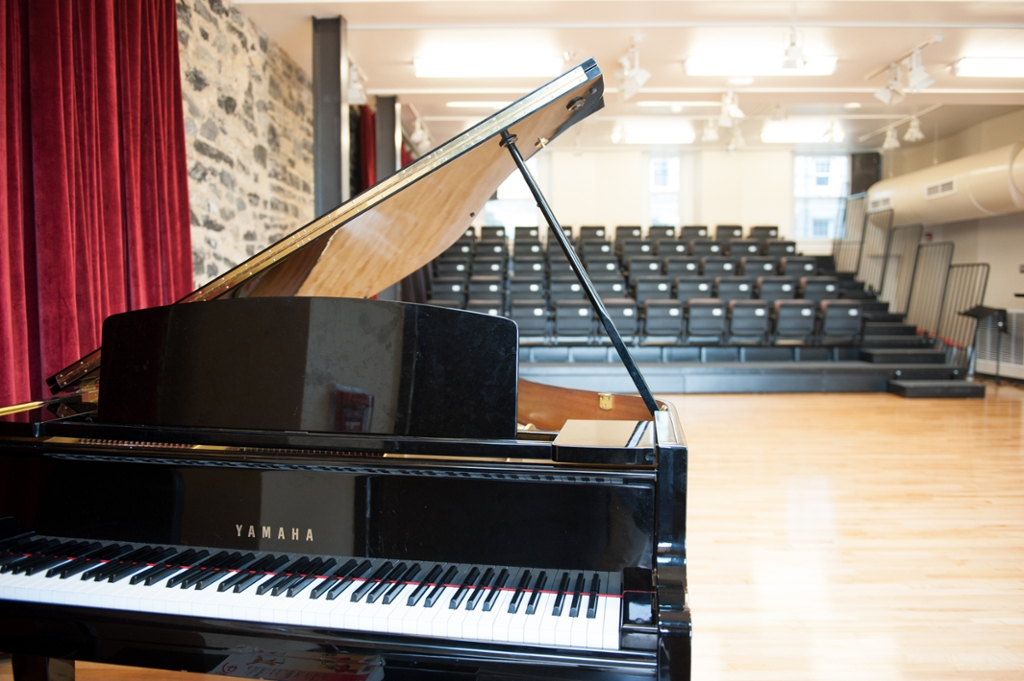 Grand piano in Wayland Hall performing space