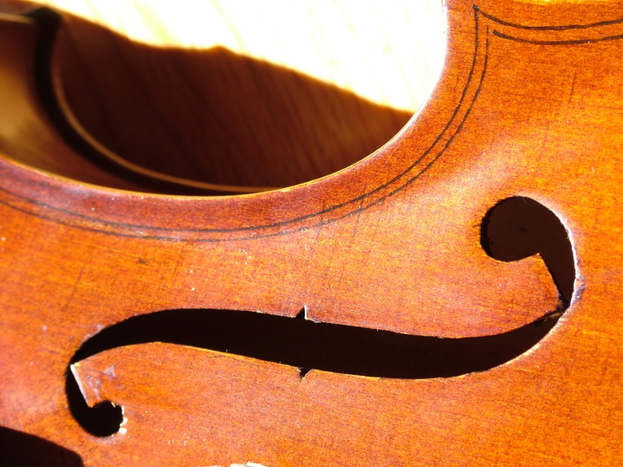 String instrument laying on its side