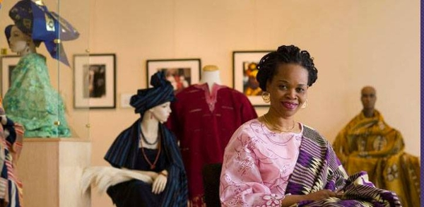 Faculty member Aderonke Adesanaya seen in her Lisanby Museum exhibition,