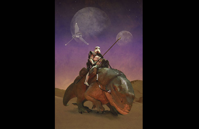 Richard Hilliard's work of Star Wars Storm Trooper riding a dewback