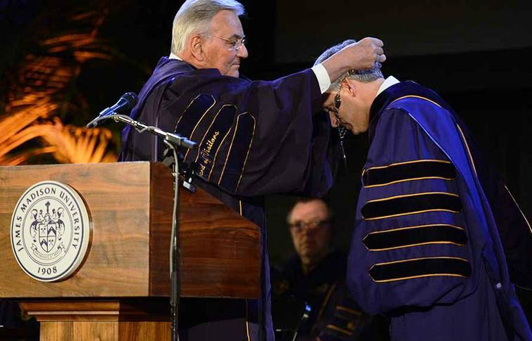 JMU President Alger inauguration receiving chain of office