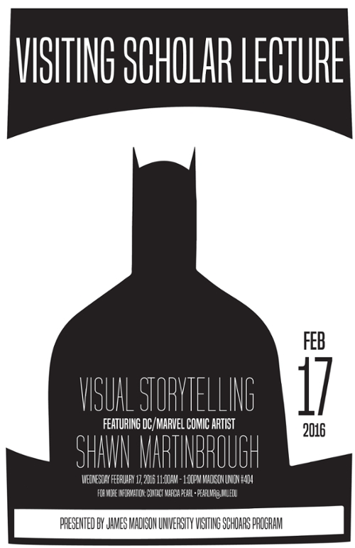poster for shawn martinbrough presentation with outline of batman's head