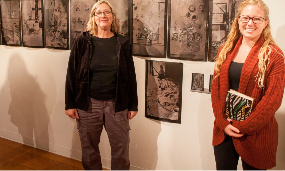 Corinne Diop and Rachel McCroddan at the artworks exhibit