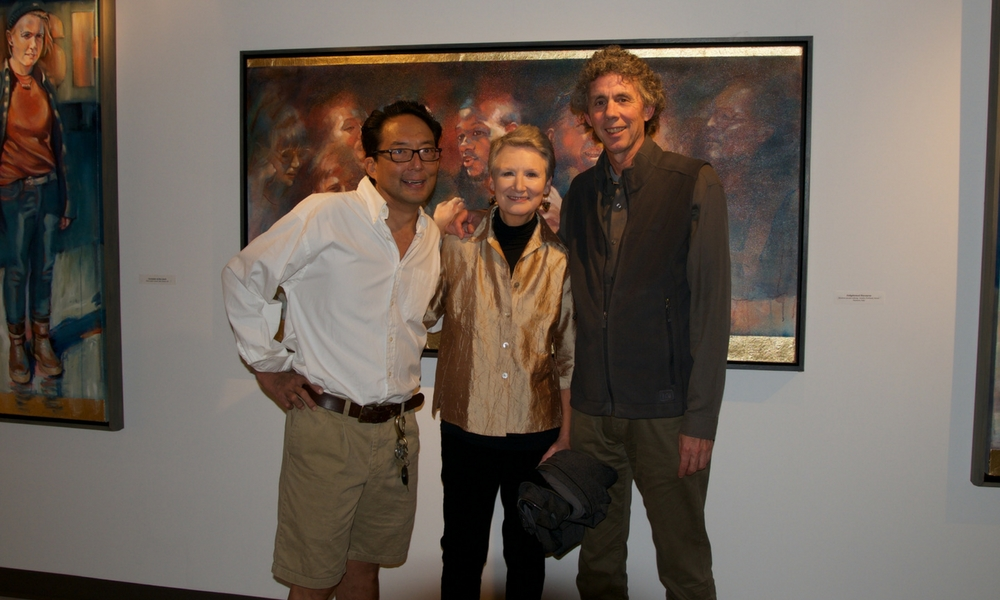 Cam Choy, Celia Anderson, and Gary Freeburg in the gallery