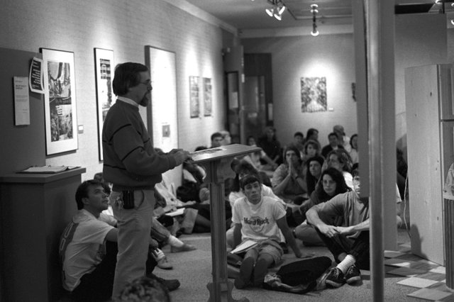 Art Professor Alan Tshudi at faculty show, 1990