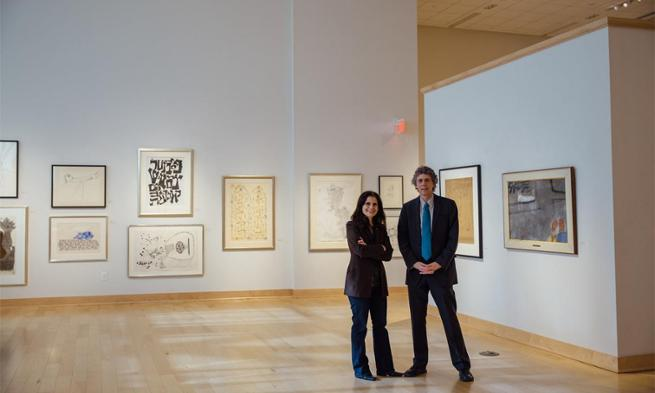 Guest curator Laura Katzman and Duke Hall Gallery Director Gary Freeburg