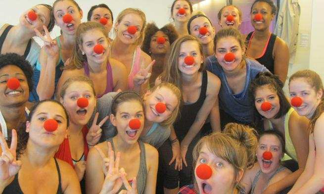 Dance students with clown noses