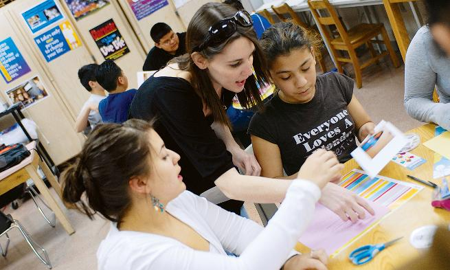 JMU students mentor and teach local Latino youth through AMISTAD, a program established by Spanish professor Karina Kline-Gabel.