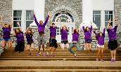JMU residence advisors on the steps of JMU