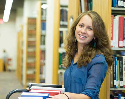 Ericka Welsh working in JMU's Carrier Library