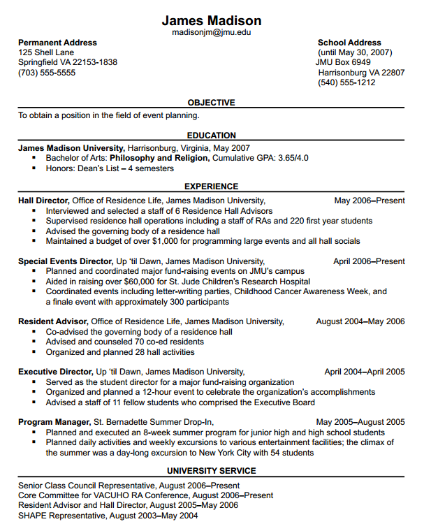 James Madison University - Resumes: Format