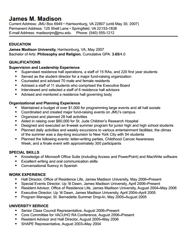 Sample Student Resume | James Madison University Resumes Format