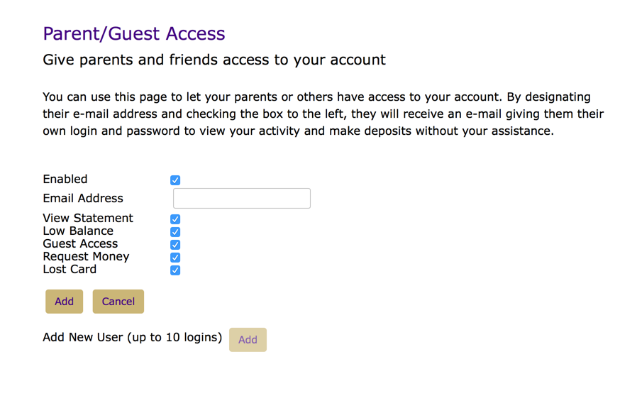 James Madison University - Adding Guest Access to Your Online Account