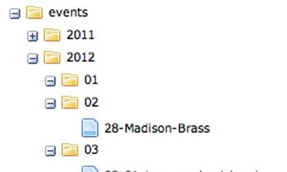 Screen shot of Events folder structure example in the JMU CMS.