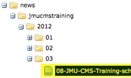 image of news directory example in JMU CMS