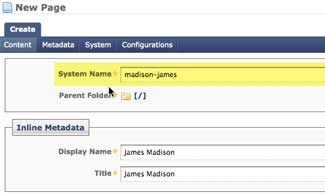 Image of how to create a system name for profiles in the JMU CMS
