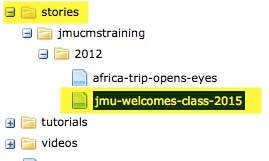 image of sample story directory in the JMU CMS