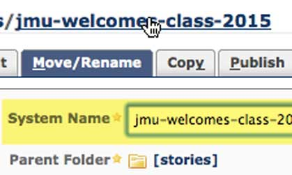 stories system name example in jmu cms system