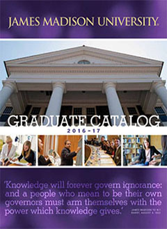 The cover of the James Madison University Graduate Catalog 2016-17