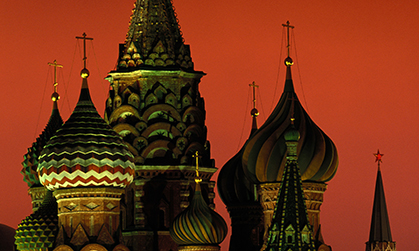 russian architecture at night