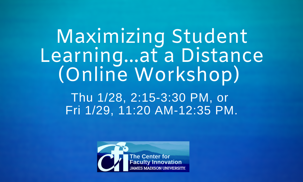 Mximizing Student Learning,,, at a Distance workshop