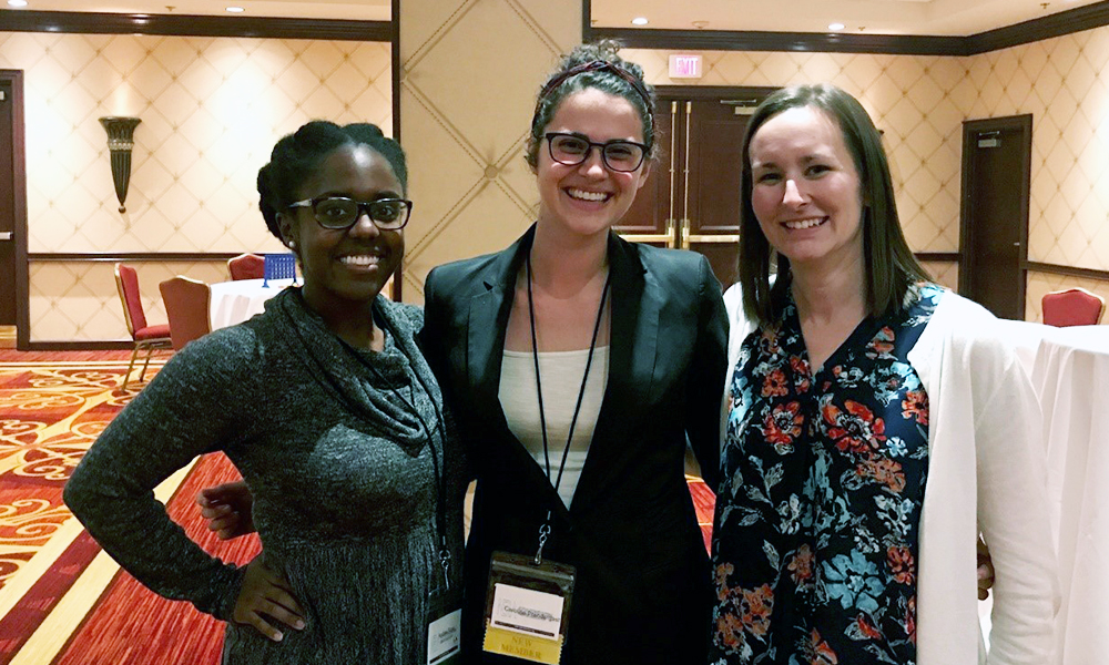 Caroline Prendergast (center) with A&M PhD students Andrea Pope (left) and Madison Holzman (right).