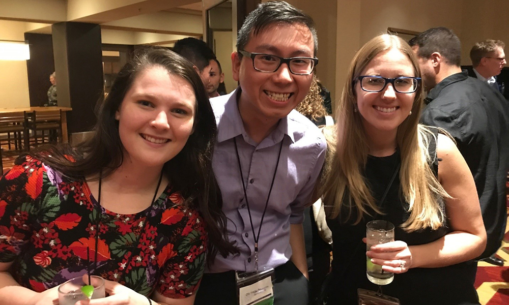 Nikole Gregg (left) with A&M doctoral student Chi Au (center) and alumnus Jerusha Henderek (right).
