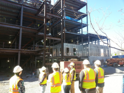 Engineering students visit on-campus construction sites