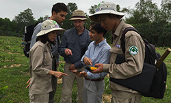 Caption: CISR/JMU GIS experts with NPA staff in the field (Vietnam)