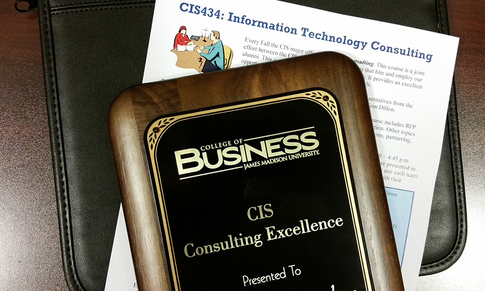 CIS434 Syllabus with Consulting Excellence plaque