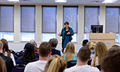 Alice Rivlin talking to a group of Economics students