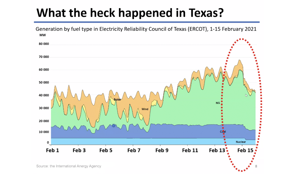 Graph depicting reliability of various energy sources relating to the 2021 Texas energy crisis