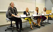 Catherine Eckel speaks during a panel on Women in Economics - 2019