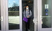 Finance major Mya Baptiste leaving Hartman Hall - 2021