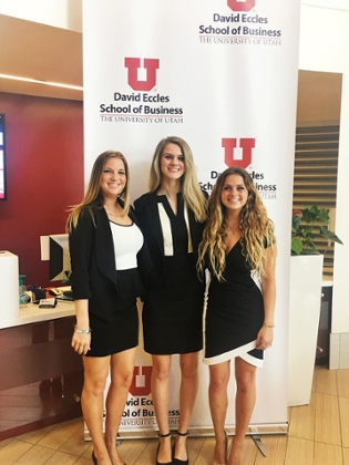 Alexandria Stockman, Courtney Brown, and Christian Peperno at the 2017 Sawtooth Marketing Competition