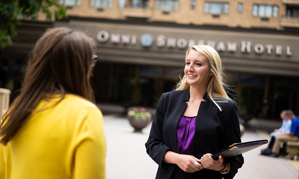 Intern outside of Omni Hotel