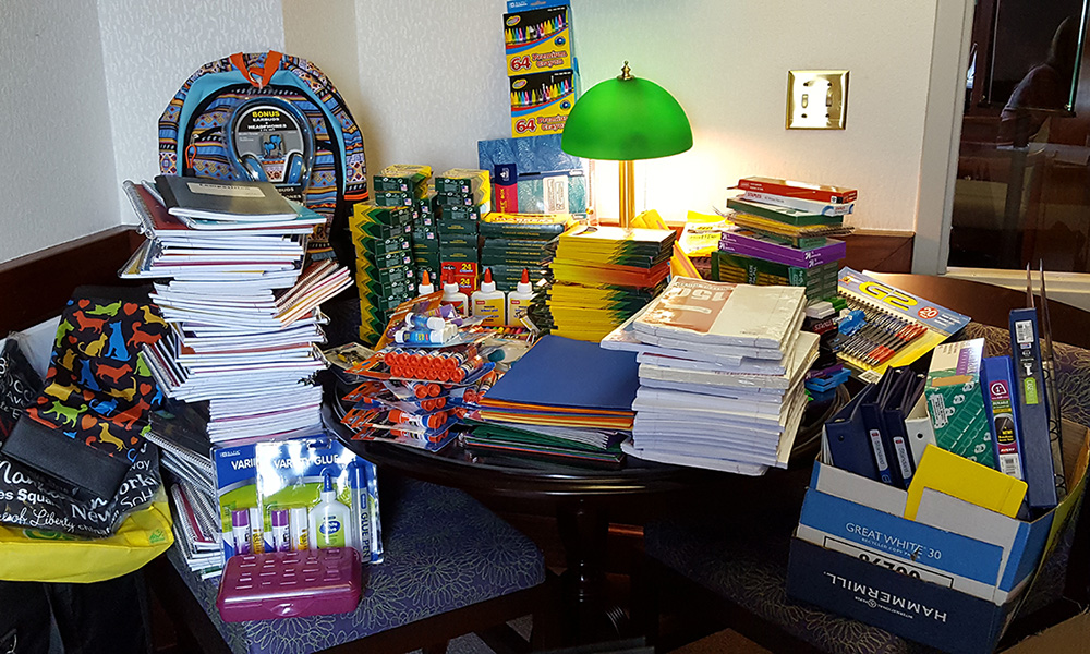 School supplies donated by CoB faculty and staff in 2016