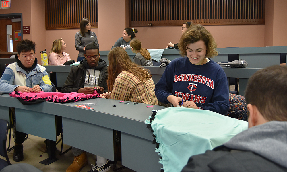 CoB students and faculty assemble blankets on MLK Day of Service - 2020