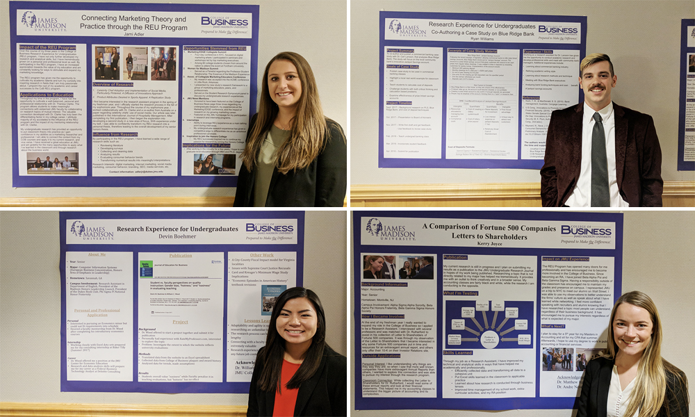 Students share their research at a recent Board of Advisors meeting: Jami Adler, Ryan Williams, Devin Boehmer, Kerry Joyce