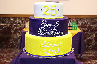 Birthday cake for the Zane Showker Hall 25th birthday celebration