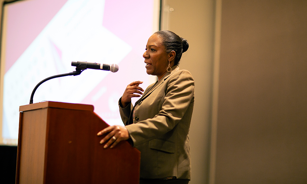 Christy Coleman giving keynote at Leading Change Conference - 2019