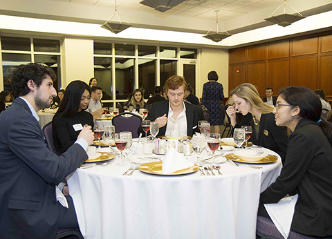 Students at the 2017 Etiquette Dinner