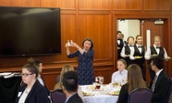 Etiquette pro demonstrating a point at the 2017 Etiquette Dinner