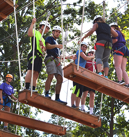 Residential Learning students participating in a challenge course