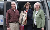 Bob Jerome, Mary Gowan and Marion White at the Spring Food Drive 2015